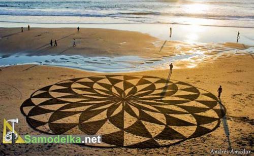 Рисунки на песке Андреса Амадора круг