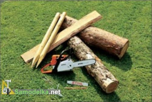 инструмент и материал для лавочки из бревна