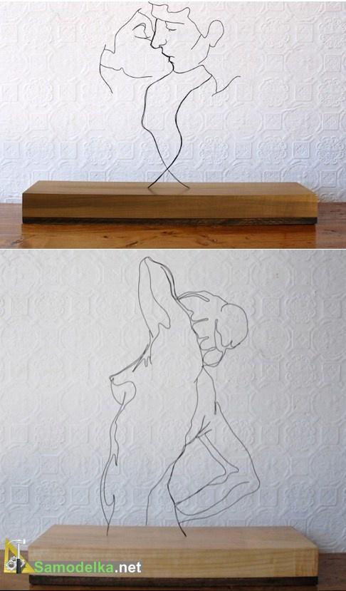 две настольные скульптуры из проволоки