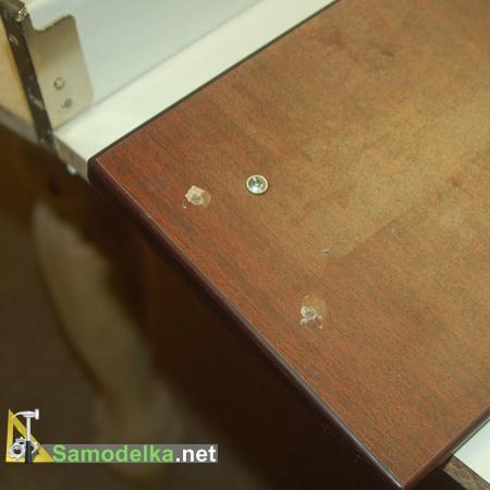 вырванные винты на выдвижном ящике