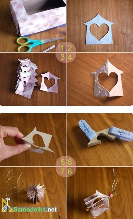 как сделать валентинку в виде домика