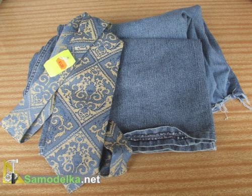 как сшить джинсы с манжетом из галстука