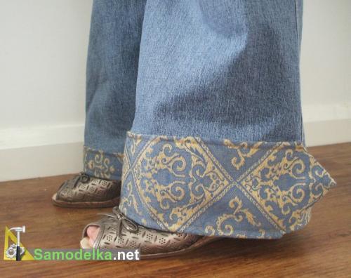 джинсы с манжетом из галстука