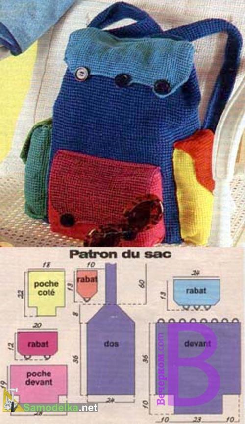 выкройка вязанного рюкзака