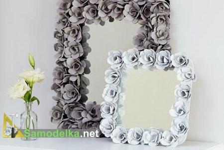 цветочная рамка для зеркала из яичной коробки