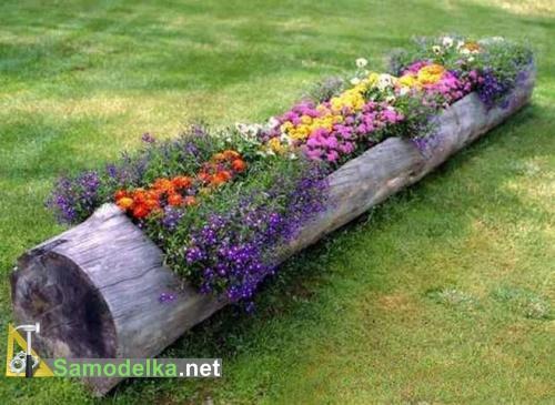 клумба горшок для цветов из бревна