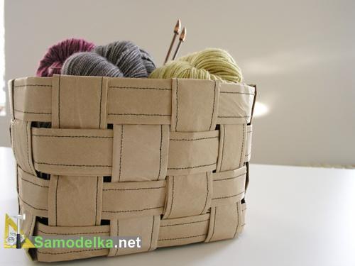 плетеная корзина из бумаги