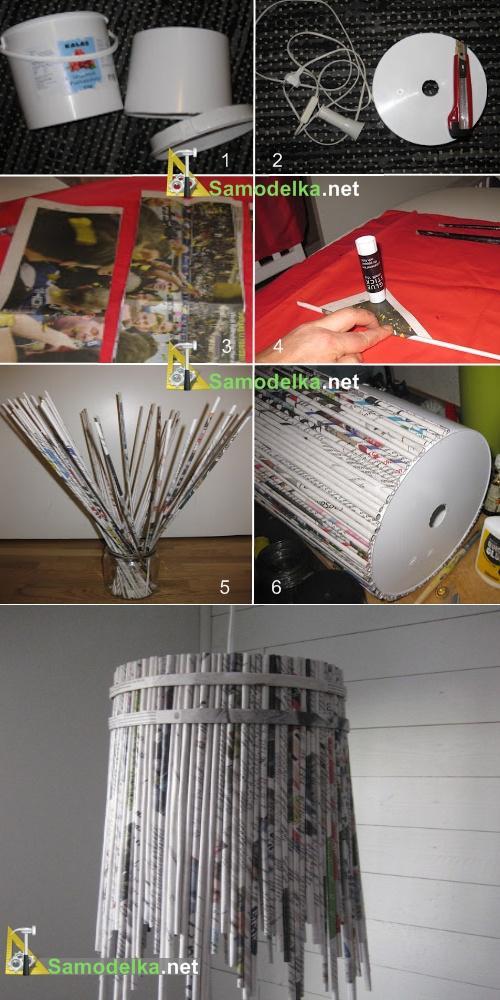 как сделать лампу из бумажных труб