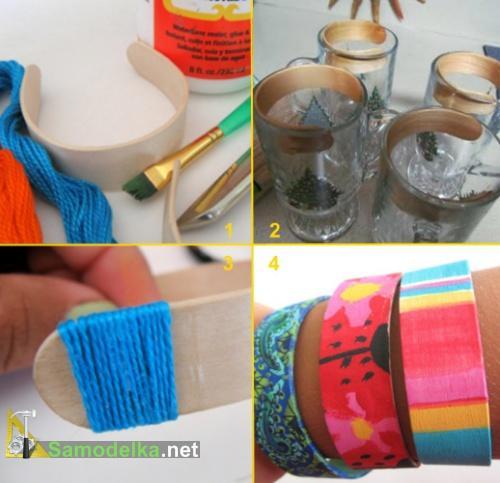 как сделать браслет из палочки от мороженого