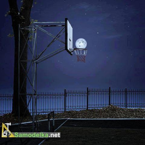 луна в баскетбольной корзине