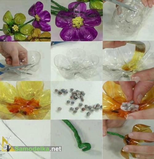 простые цветы из пластиковой бутылки