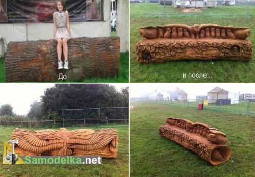 резные скамейки из дерева фото