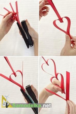 как сделать гирлянду из бумаги сердечки