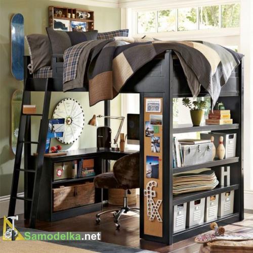 Кабинет для подростка наверху кровать внизу стол