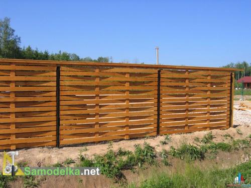 плетеный деревянный забор из доски