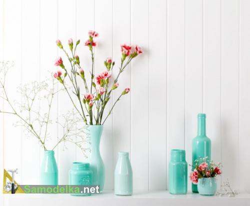 ваза из стеклянной бутылки своими руками другой цвет