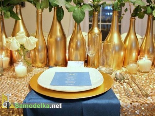 ваза из стеклянной бутылки своими руками золотая