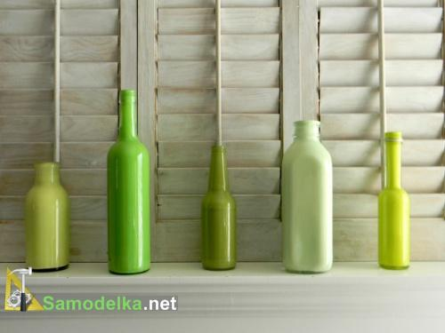 ваза из стеклянной бутылки своими руками зеленые