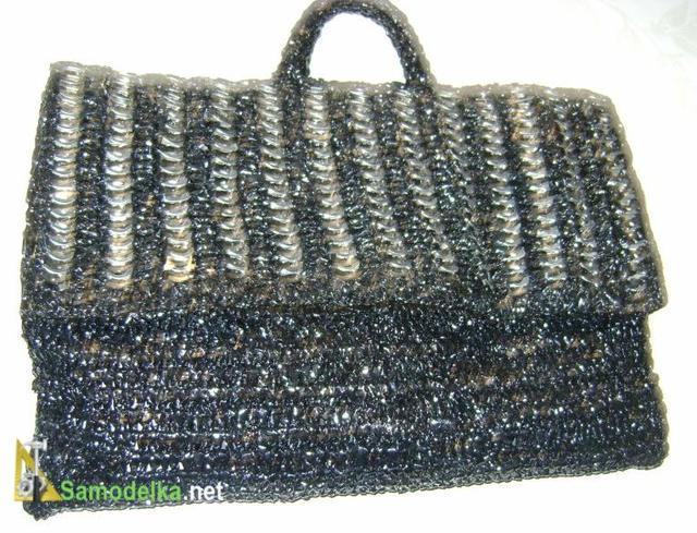 самодельная сумка из пленки сумочка с аппликацией