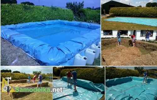 самодельный бассейн на даче из тюков соломы