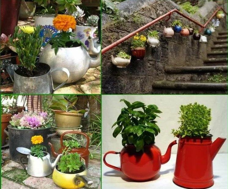 Как сделать вертикальный сад из чайников