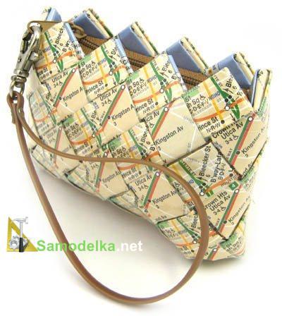 самодельные сумочки и кошелечки из бумажных и оберточных полосок
