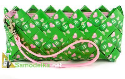гламурный самодельный кошелечек в салатово-розовых тонах