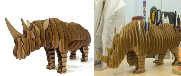 Самодельные животные из картона - носорог
