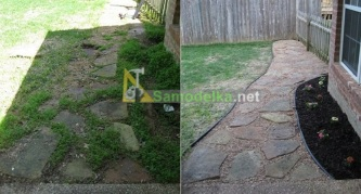 Каменная дорожка из плит и гравия