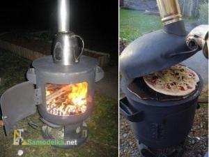 Печь для готовки и обогрева из газового баллона