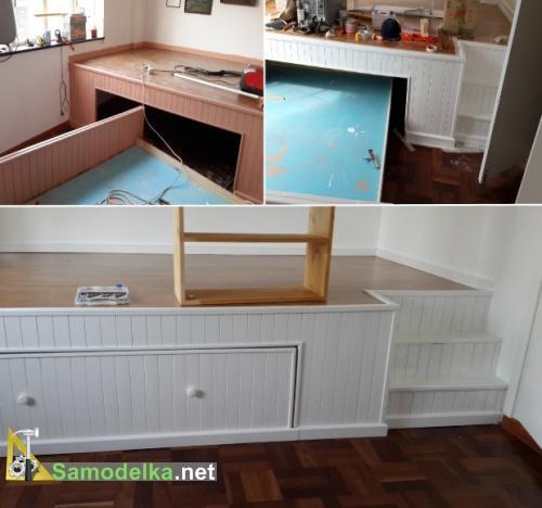 кровать под подиумом своими руками - красим