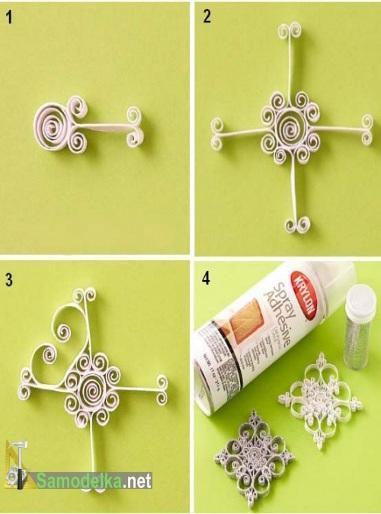 как сделать объемную квиллинг снежинку