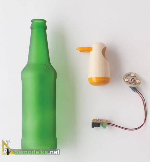самодельная лампа из пустых бутылок