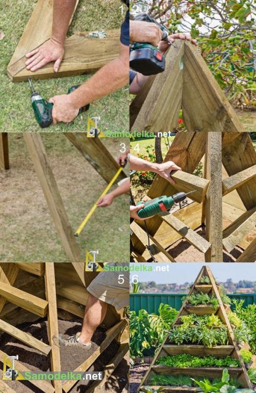 Пирамида для клубники своими руками: чертежи грядки