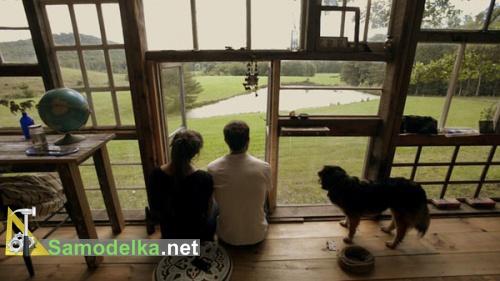 Лила и Ник в своей кабине из старых оконных рам