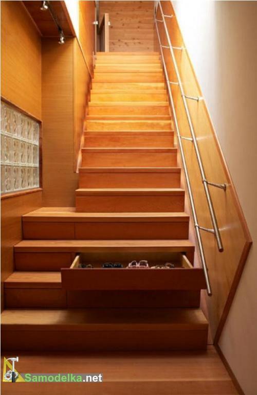 выдвижной шкаф под лестницей фото