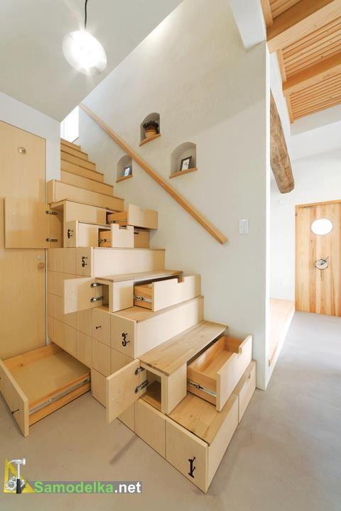 шкаф под лестницей в современном стиле - фото