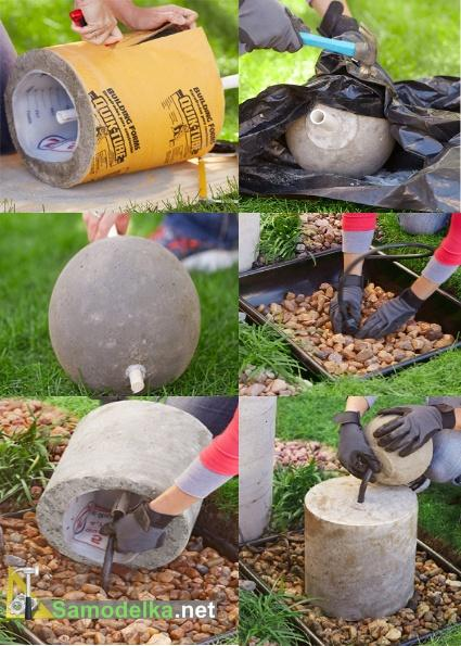 как сделать фонтан из шара освобождаем формы и собираем фонтан