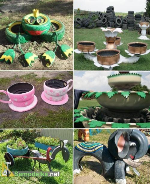 поделки из покрышек для сада - фигуры для сада