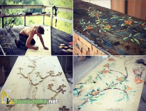 плиточная мозаика на столе из дерева своими руками