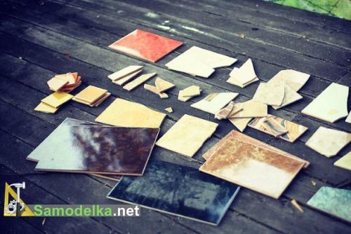 материал для инкрустации - разноцветная керамическая плитка