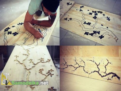 мозаичная инкрустированная столешница - сакура