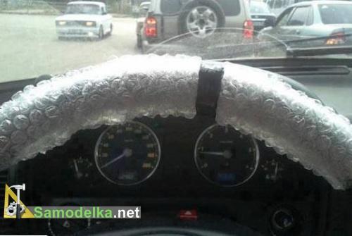 Чехол на руль из упаковочной пленки с пузырьками