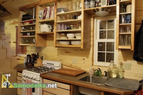 кухня в деревянном доме на колесах своими руками