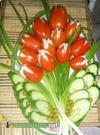 фаршированные помидоры тюльпаны