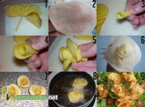 готовим розы из жареного картофеля