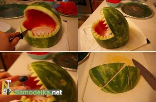 Карвинг из арбуза -  фото делаем зубы и глаза акулы
