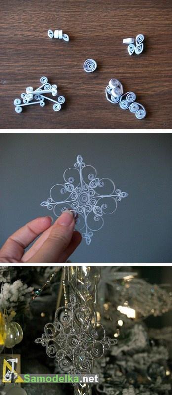 объемная снежинка из бумаги - схема квиллинг