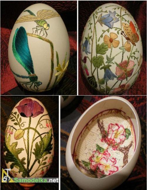 вышивка на яйцах - стрекоза и цветы