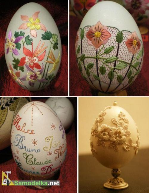 вышивка на яйцах - сложные цветы и надписи